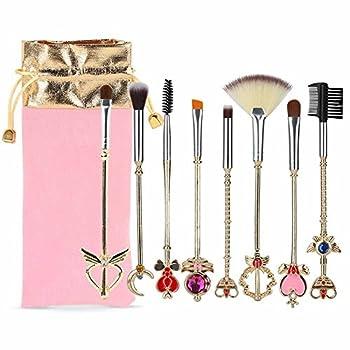 Coshine 8pcs Sailor Moon Makeup Brush Set With Pouch Magical Girl Gold Cardcaptor Sakura Cosmetic Brushes With Cute Pink Bag