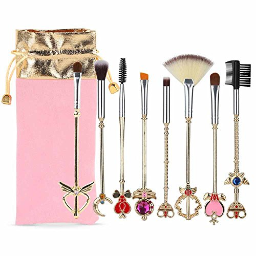 Coshine 8pcs Sailor Moon Makeup Brush Set With Pouch Magical Girl Gold Cardcaptor Sakura Cosmetic Brushes With Cute Pink Bag