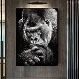 woplmh Druck auf Leinwand Modern Black Gorilla Bild