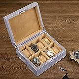 Caja de Reloj de 8 Ranuras para Hombres Caja de Reloj de Cuero con Cerradura y Llaves Almohada de Reloj extraíble Gris Caqui