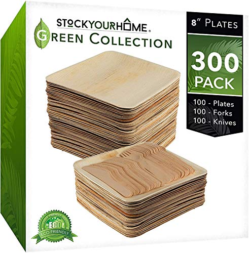 Stock Your Home Compostable Eco Friendly Bamboo Like Palm Leaf Plates and Cutlery Set (300 Pieces) - Wooden Disposable Plates - Wooden Disposable Cutlery - Rustic Themed Plates & Cutlery