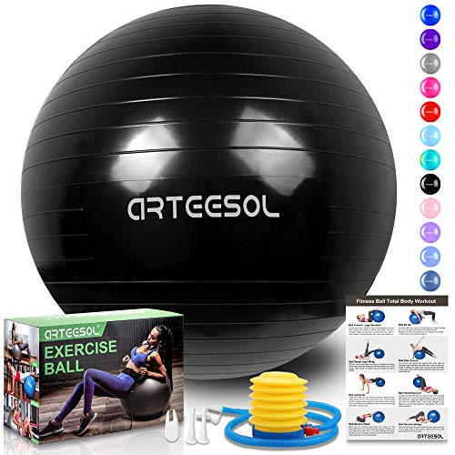 arteesol Gymnastikball, Balance Ball 45cm/55cm/65cm/75cm Yoga Ball mit Pumpe Anti-Burst Fitness Balance Ball für Core Strength (65 cm, Tinte schwarz)