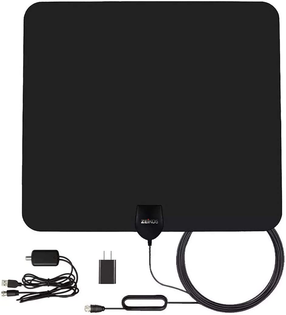 Zeikos Amplified HD Digital TV Antenna Long 200+ Miles Range - Support 4K 1080p Fire tv Stick and All Older TV's - Indoor Smart Switch Amplifierr - 18ft Coax HDTV Cable/AC Adapter, Black, Large