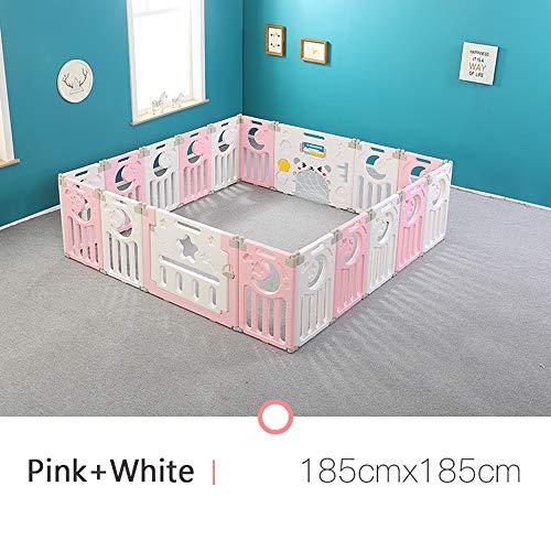 Opvouwbare Kinderbox, Veilige Compacte Afrastering, Stabiele En Duurzame Plastic Barrière, Activiteitencentrum Voor Baby En Peuters, Eenvoudig Te Monteren, Roze + Wit