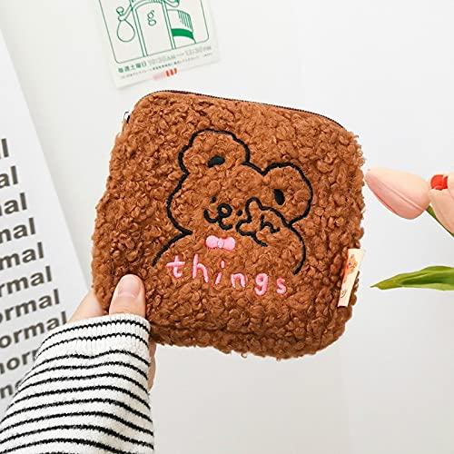 MUY Cute Lady Mini Cosmetic Bag RSE Organizador Peluche Bordado Oso Perro Conejo Almohadilla Sanitaria Tampón Bolsa de Almacenamiento Niñas Estuche de Belleza para Mujeres Caja de Recuerdos