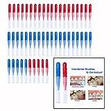 OFKPO 50 pcs Brossettes Interdentaires, Dents Nettoyant la Brosse à Dents et Soins Oraux Brosse (Rouge + Bleu)