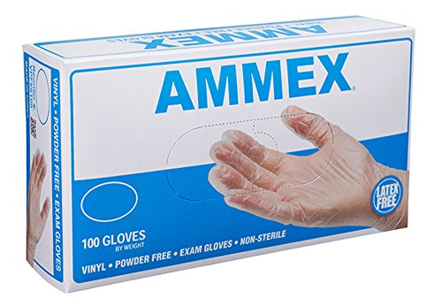 AMMEX - VPF68100-BX - Medical Vinyl Gloves - Disposable, Powder Free, Latex Rubber Free,  Exam, 4 mil, XLarge, Clear (Box of 100)