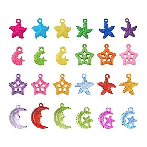 PandaHall - 400 perline acriliche a forma di stella marina, trasparenti e opache, in plastica, per collane, bracciali, orecchini, fai da te