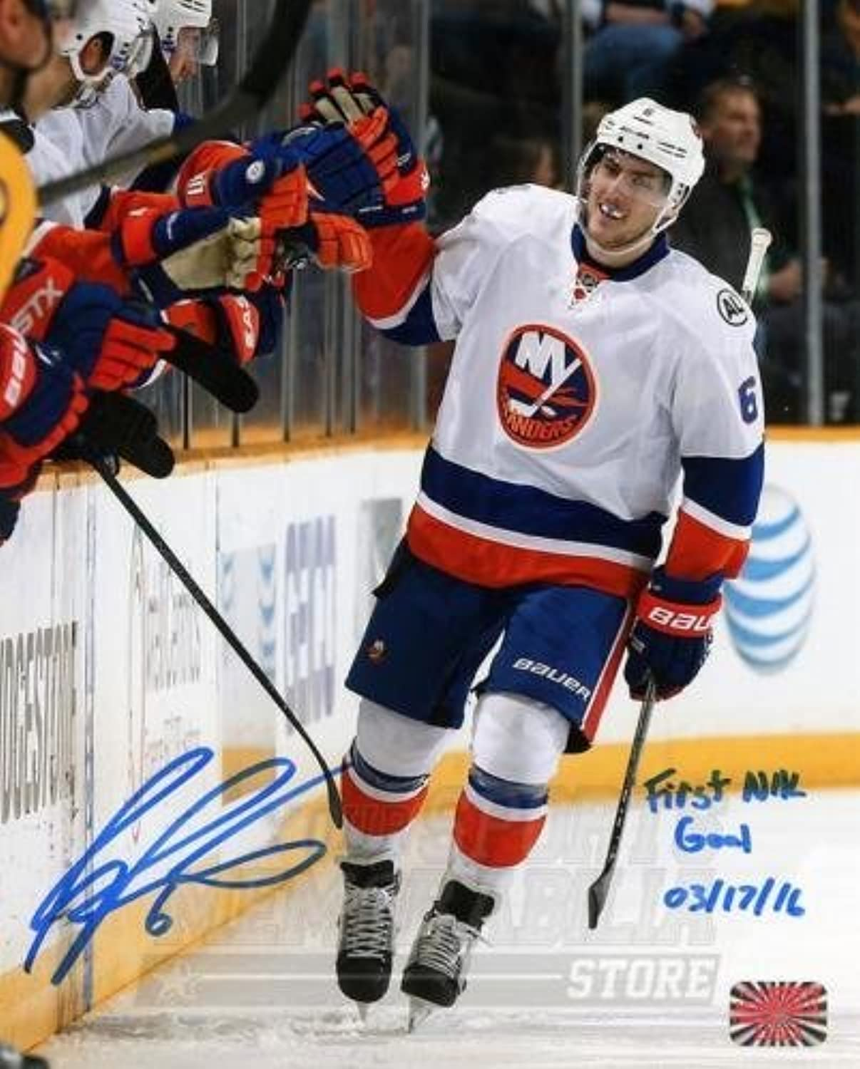 Ryan Pulock New York Islanders Signed Autographed 1st NHL Goal Inscribed 8x10