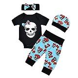 puseky 4pcs Newborn Baby Boys Girls Skull Romper+Pants+Hat+Headband Halloween Outfits (6-12 Months, Black+Blue)