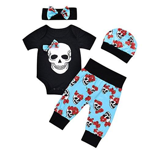 Tianhaik 4 STKS Peuter Baby Outfits Pak Zomer Zwart Korte Mouw Schedel Romper+Leggings Broek voor 0-24 Maanden