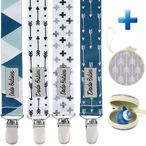 Pacifier Clip by Dodo Babies Pack of 4 + Pacifier Case, PremiumQuality Modern Designs Universal Holder Leash for Boys and Girls, Teething Toy or Soothie, Baby Shower Gift Set