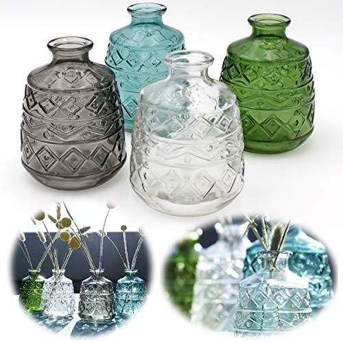 LS-LebenStil 4X Retro Glas-Vase 11x8cm Set Deko Tisch-Vase Blumenvase Mini Väschen Flaschen