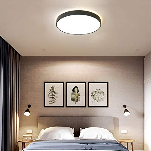 360° Surround Glow LED Round Black Gray Pink Ceiling Lamp Acrylic Chandelier Light Dining Living S.Y.MMYS (Color : Black)