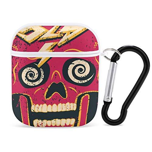 AirPods Cases Forever Old Crazy Skull Grunge Party Funda protectora de silicona premium compatible con AirPods 1 y 2 con llavero