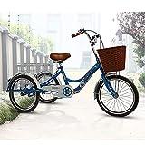 OHHG Triciclo Adultos 20 Pulgadas, Bicicleta Crucero, Bicicleta 3 Ruedas Cesta Carga Adultos, recreación, Compras, Picnic, Ejercicio