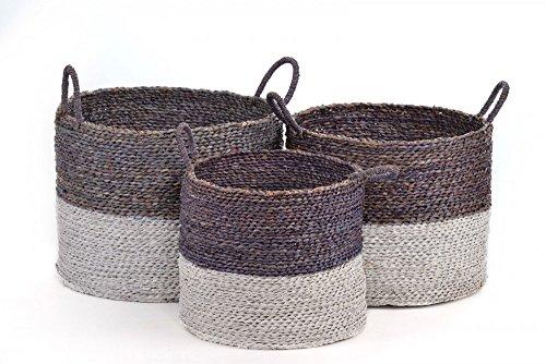 animal-design AUFBEWAHRUNGSKORB Flechtkorb RUND in 3 GRÖßEN Seegras Korb Box mit Henkel in grau/braun & weiß Korb-Set Aufbewahrungsbox, Größe:Größe 3