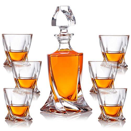 polar-effekt 7-TLG Karaffe Gläser Whisky-Set - Geschenkset aus Glas - Whiskey Dekanter 800ml mit 6 Whiskygläser 300ml - Geschenk-Idee für Männer Geburtstag, Weihnachten - ohne Geschenkverpackung