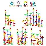 Queta Marble Run Kugelbahn, 109pcs Mehrfarbige Konstruktionsbausteine DIY Bausteine mit Bahnelementen und Glasmurmeln pädagogisch für Kinder Spielzeug (3+ Jahre) - 6