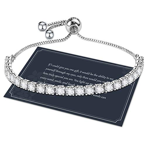 Bracelet for Women,Sterling Silver Tennis Bracelet Crystal Slider Bracelet S925 Women Bracelet Sparkle Diamond Zirconia Adjustable Bracelet for Lady Gift for Mom,Mother Day Gift