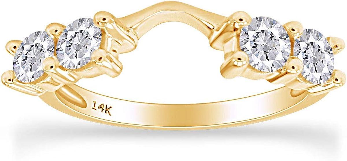 14k Solid Gold Diamond Solitaire Engagement Ring Enhancer (5/8 carat J-K Color I2-I3 Clarity) IGI Certified