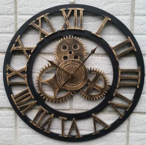 Horloge Murale Simple Rétro, Style Industriel En Métal Lourd Ronde Chiffres Romains Horloge Murale Bar Cafe Mute Iron Clock, 60 * 60 Cm,Gold