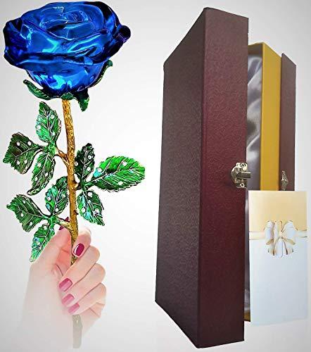 Rosa, Rosa De Cristal, Flor De Rosa Dorado Y Eterno - para La Esposa/Novia/Dia De Saint Valentine/Dia De La Madre/Aniversatios/Cumpleanos. El Regalo Que Merece Cada Mujer.