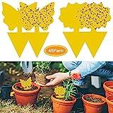 48 piezas de trampa de moscas enchufables placas amarillas planta de protección de adhesivo amarillo de los pulgones mosquito, moscas de hoja y alimañas, ideal para plantas en el balcón o en el jardín