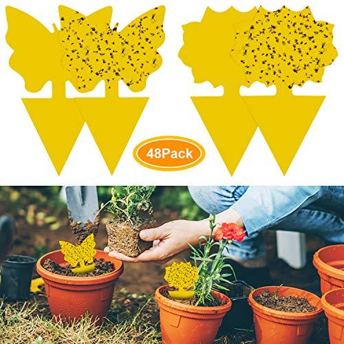 YHmall 48Pcs steckbare Fliegenfalle Gelbtafeln Gelbsticker Schütz Pflanze vom trauermücken Blattläuse, Minierfliegen und Ungeziefer, Ideal für Pflanzen Auf dem Balkon oder Im Garten MEHRWEG