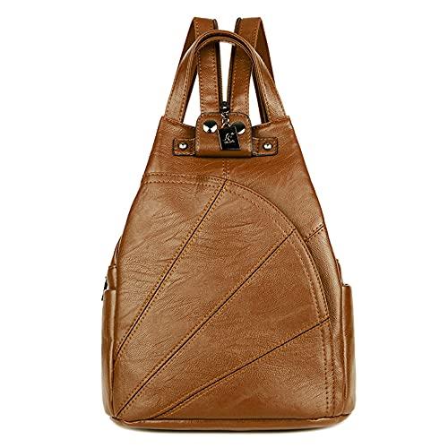 Mochila de piel suave para mujer, elegante mochila de piel para mujer, marrón, medium,