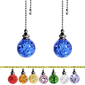 Ceiling Fan Pull Chain Decorative Crstal Fan Pull Chain Extension Ceiling Fan Pull Chain Ornaments with 21 Inches 3.2mm Diameter Beaded Ball Fan Pull Chain Extender 2Pack,Blue