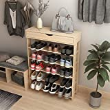 soges Schuhregal Schuhschrank Holz 5 Etagen, 75 x 24 x 94 cm Schuhablage Schuhständer Schuhregal für Wohnzimmer, Diele, Flur, Weiß Ahorn L24-MP