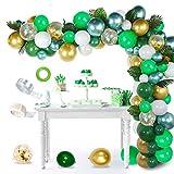 AYUQI Jungle Décorations Ballon Guirlande & Arch Kit, 114 Pièces Jungle Forêt Thème Ballon, Ballons Vert et Confettis Dorés avec Feuilles de palmier pour Décorations de Fête d'Anniversaire pour Bébé