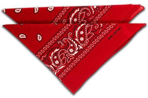 fashionchimp ® Nicki-Halstuch aus 100% Baumwolle im 2er Set, Unisex Bandana, AZO-Frei (Rot)