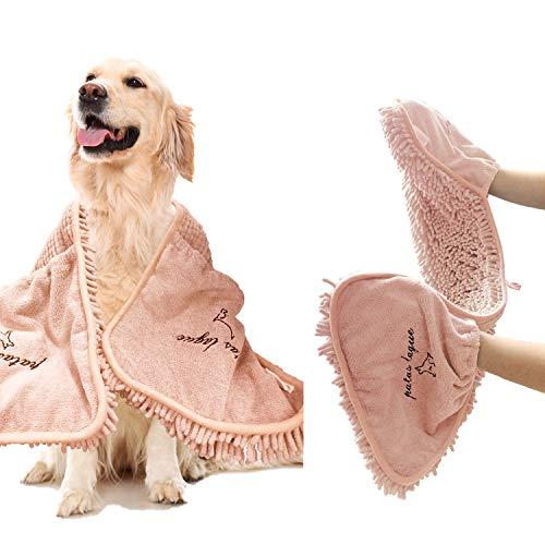 Patas Lague Absorbent Dog Towels, Pet Towel, Dog Microfiber Drying Towel (35'' x 15'', Pink)
