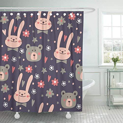 QAQ sterrenhemel douchegordijn met haken dier patroon met konijn en beer baby mooi konijntje Cartoon schattig tekenen Pasen badkamer Decor