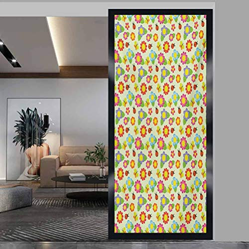 wonderr Window Film Stained Glass Stickers, Baby Floral Pattern with Ladybugs and Butterflies Dotted, Static Glass Film for Bathroom Office Meeting Room Living Room, W35.4xH78.7 Inch