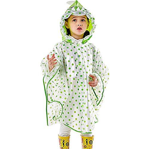 QHGao Waterdichte regenjas met capuchon voor kinderen, regenjas met muts en zakhoes, opblaasbaar mutsontwerp voor comics, lange poncho voor kinderen, stijlvol en royaal