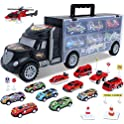 HAENPLE Transport Carrier Truck Set with 12 Mini Toy Cars (Black)