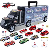 HAENPLE Transport Carrier Truck Set with 12 Mini Toy Cars (Black)