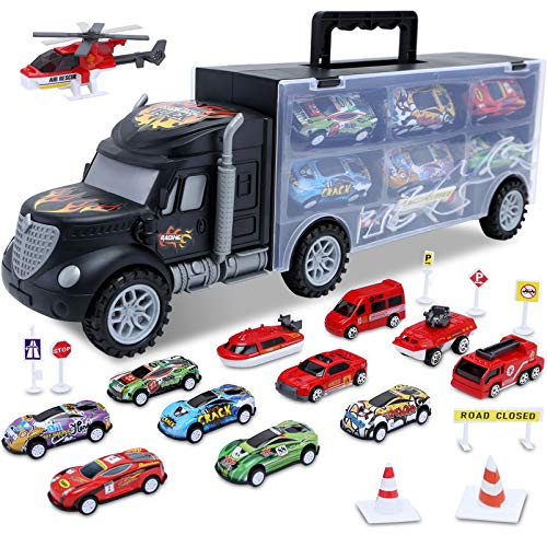 Toddler Cars Toys for 3 Year Old Boys,Kids Truck Toys Transport Car Carrier Set,20 in 1 Die-cast Vehicles Includes 6 Mini Racing Toy Cars and 6 Small Firetruck Engine Toys for Age 3-7 Boy by HAENPLE