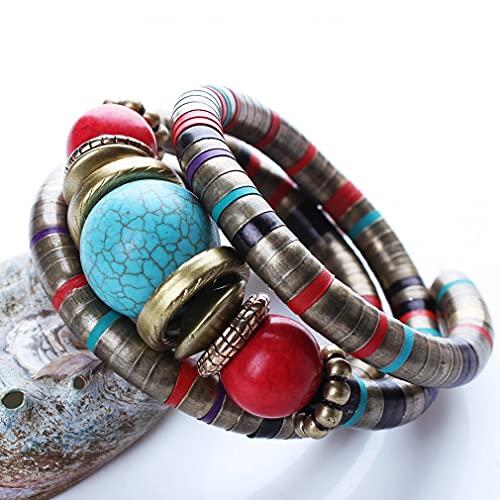 JINJN Pulsera de Brazalete Bohemio con Cuentas de Piedra Natural para Mujer, joyería Vintage tibetana de Hueso de Serpiente de Buda