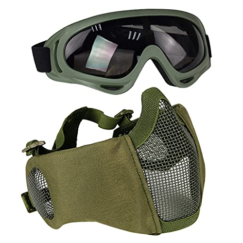 AOUTACC Airsoft Protective Gear Set, Half Face Mesh Masks with Ear Protection and Goggles Set for...