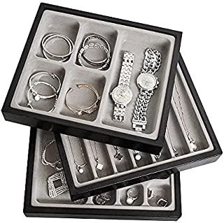 JackCubeDesign Set of 3 Leather Stackable Jewellery Tray Earring Necklace Bracelet Ring Organiser Display Storage Box(Blac...
