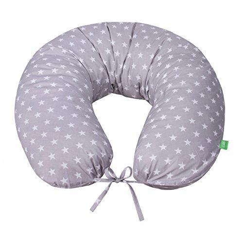 LULANDO Bomerang Oreiller de sommeil - Oreiller de maternité BOMERANG 200x39 cm - OEKO-TEX Standard 100 - 100% Cotton - Couleur: White Stars / Grey