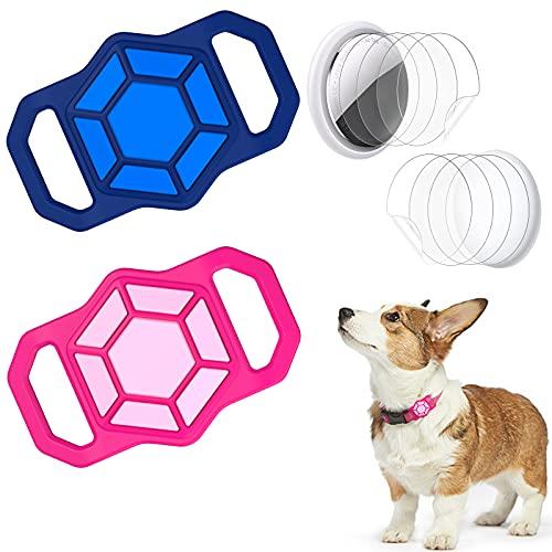 Aukvite [2 PCS] Funda de Silicona Compatible con Airtag, Funda Protectora Airtag Adecuado para Collar de Mascotas / Perros / Gatos, GPS Tracking Finder Case Anti-perdida (Azul+Rosa)