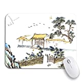 Adowyee Gaming Mouse Pad Watercolor Classic China Chinese Painting The Old House 9.5'x7.9' Nonslip Rubber Backing Computer Mousepad for Notebooks Mouse Mats