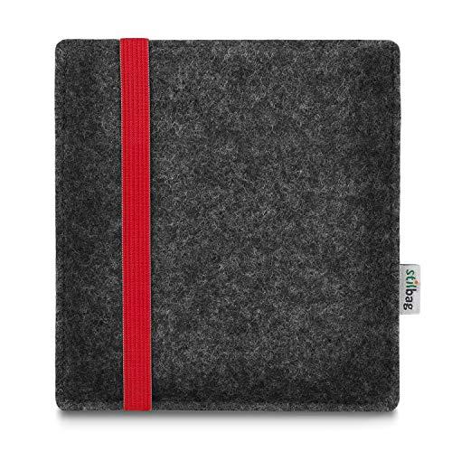 stilbag e-Reader Tasche Leon für Tolino Vision 5 | Wollfilz anthrazit - Gummiband rot | Schutzhülle Made in Germany