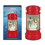 The Christmas Workshop Buzón festivo LED funciona con pilas, con purpurina, diseño de muñeco de nieve, resina, color rojo