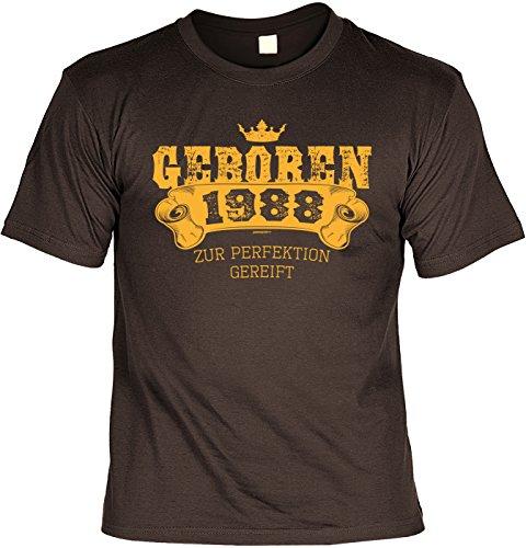Art & Detail Shirt - Camiseta divertida con texto en alemán 'Geboren 1988' marrón L